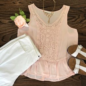 Lauren Conrad pink sleeveless top tank Large 🦓